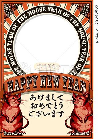 2020年賀状テンプレート「アートポスター風フォトフレーム」あけおめ 手書き文字用スペース空き