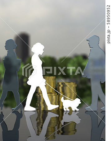 CG 3D イラスト デザイン シルエット ペット 犬 散歩 街 飼い主 58950952