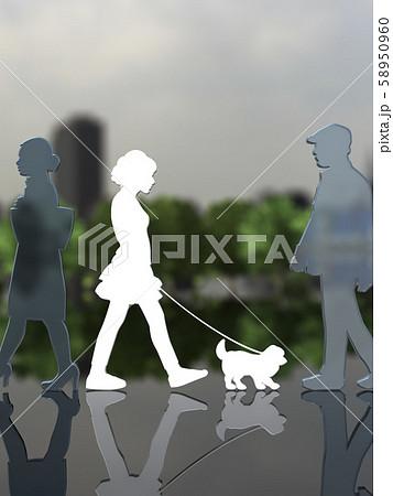 CG 3D イラスト デザイン シルエット ペット 犬 散歩 街 飼い主 58950960