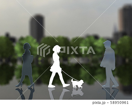 CG 3D イラスト デザイン シルエット ペット 犬 散歩 街 飼い主 58950961
