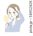 髪の毛 生え際 白髪 女性 中高年 悩み 薄毛 イラスト 58952826