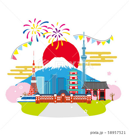 日本の町並み イメージイラスト 58957521