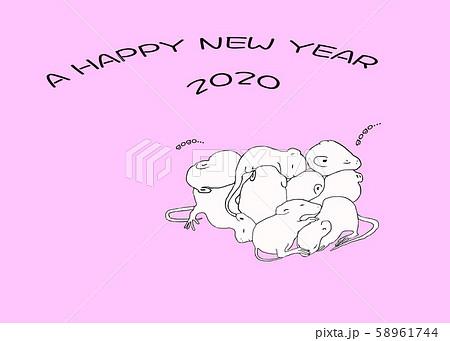 年賀状 ネズミのあかちゃん 58961744