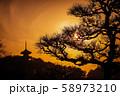 【横浜】三渓園の三重塔と夕景 58973210