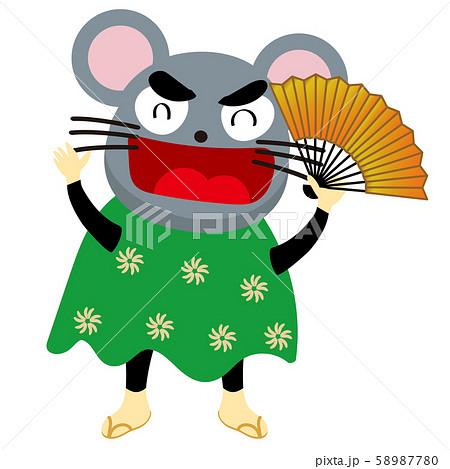 年賀状素材:干支のネズミの獅子舞のイラスト:2020年子年令和2年 58987780