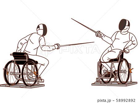 パラリンピックで車いすフェンシング 58992892