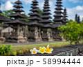 バリ島 世界遺産 タマンアユン寺院のメル バリ島を代表する花 フランジパニ  プルメリア 58994444
