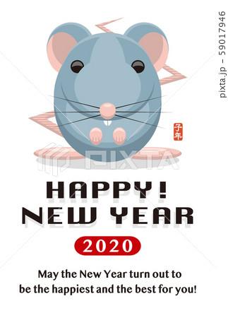 2020年賀状テンプレート「グラフィカルマウス」ハッピーニューイヤー 英語添え書き付