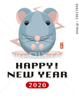 2020年賀状テンプレート「グラフィカルマウス」ハッピーニューイヤー 手書き文字用スペース空き