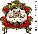 2020年賀状素材に使えるハリネズミの王様キャラクターのイラスト 59018641
