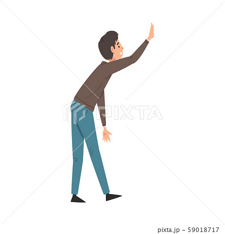 Young Man Giving High Five, Smiling Guy Greeting Partner or Friend Vector Illustration 59018717