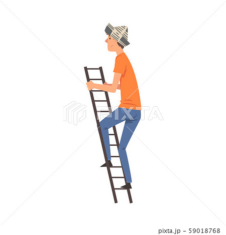 Male Construction Worker in a Paper Cap Standing on a Step Ladder Vector Illustration 59018768