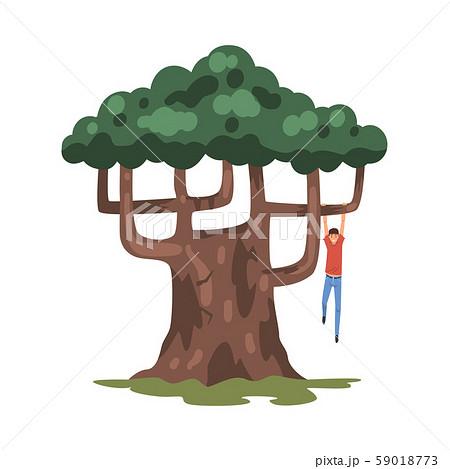 Teenage Boy Hanginig on Tree Branch, Childhood Activity Vector Illustration 59018773