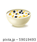 Realistic Detailed 3d Cereals Oatmeal Breakfast in White Ceramic Bowl. Vector 59019493