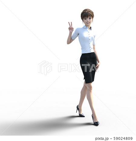 ユニフォーム姿の女性 perming3DCG イラスト素材 59024809