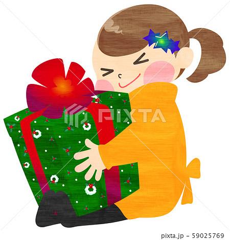クリスマスプレゼントに大喜びする女の子のイラスト (手描き風 線なし) 59025769