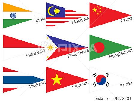 三角国旗 アジア 59028201