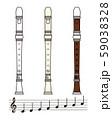 リコーダーと音符のセット ベクター イラスト 59038328