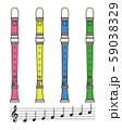 リコーダーと音符のセット ベクター イラスト 59038329