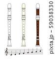 リコーダーと音符のセット ベクター イラスト 59038330