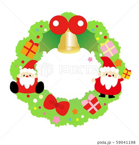 クリスマス素材・かわいいサンタクロースとクリスマスリースのイラスト素材 59041198