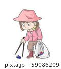 ゴミ拾いの女性のイラスト 59086209