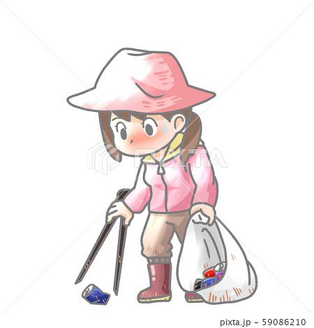 ゴミ拾いの女性のイラスト 59086210