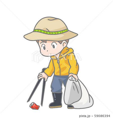 ゴミ拾いの男性のイラスト 59086394