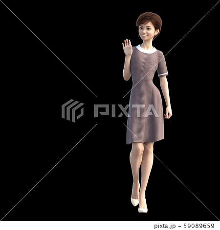 歩くおしゃれな若い女性 perming3DCGイラスト素材 59089659