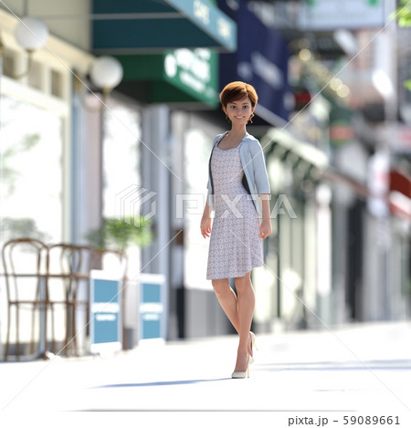 街を歩くおしゃれな若い女性 perming3DCGイラスト素材 59089661