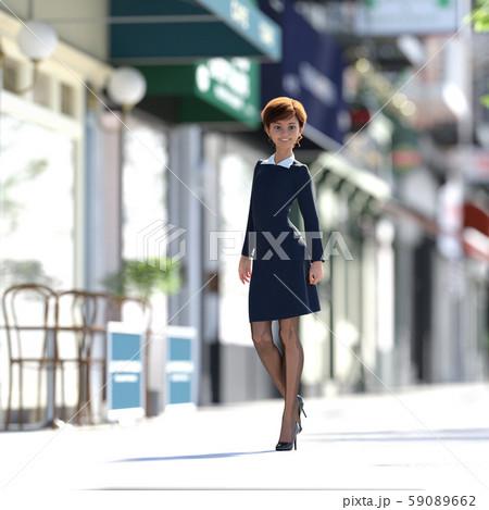 街を歩くおしゃれな若い女性 perming3DCGイラスト素材 59089662