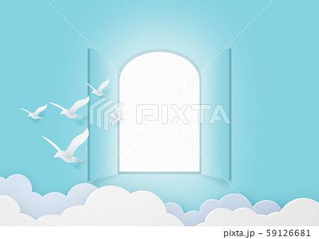 ペーパークラフト-空-扉-open-鳥 59126681