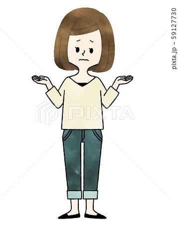 女性-比較・選択・悩み-首をかしげる-水彩 59127730