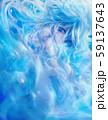 【淡い青色】水の中の幻想少女 59137643
