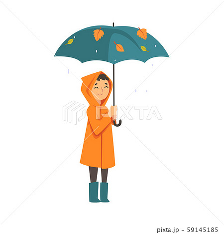 Child in a raincoat stands under an umbrella cartoon vector illustration 59145185