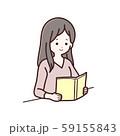 読書をしている長袖服の女性 59155843