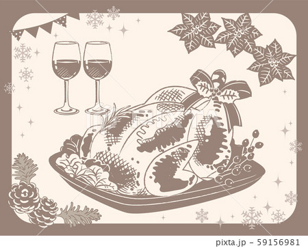 クリスマスディナー素材。七面鳥の丸焼きとワイン。ビンテージ風 59156981