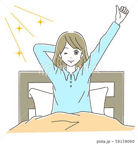気持ちよく起きる女性のイラスト素材 [59158060] - PIXTA