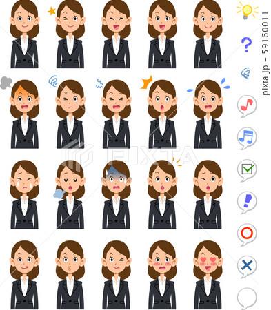 ビジネスウーマンの20種類の表情と上半身 59160011