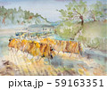稲刈り(かけ干し)風景画 59163351