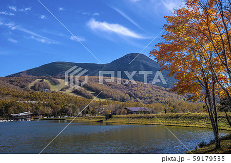 信州 長野県北佐久郡立科町 秋の女神湖と蓼科山 59179535