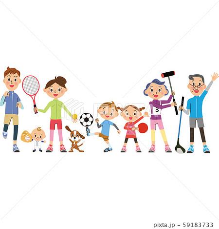 スポーツをする三世代家族 59183733