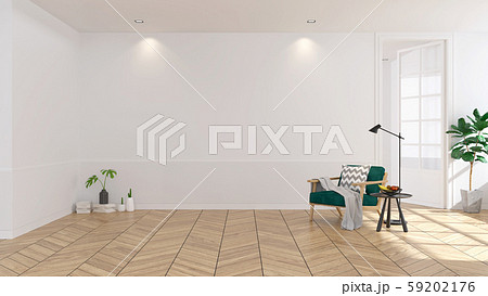 Modern scandinavian  style , living room  interior  concept, green armchair  on wood floor with white wall,3Drender 59202176