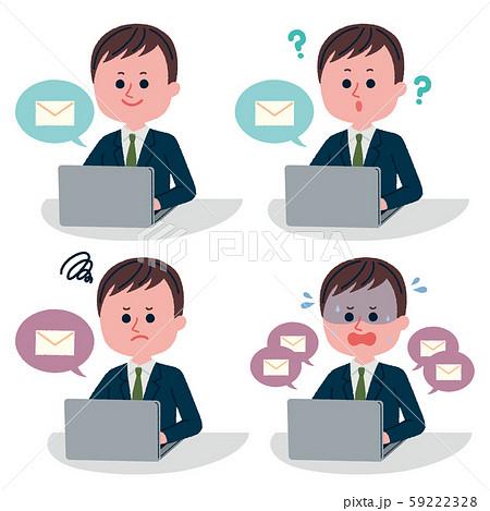 メールをしている男性社員の表情セット 59222328