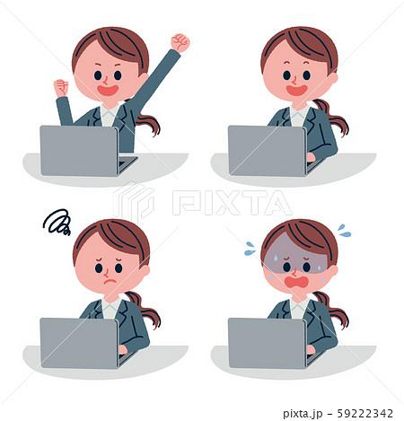 パソコン業務をしている女性社員のイラストセット 59222342