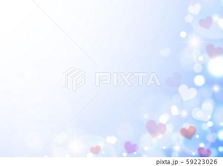 キラキラシャボン玉ブルーベースとハート 59223026