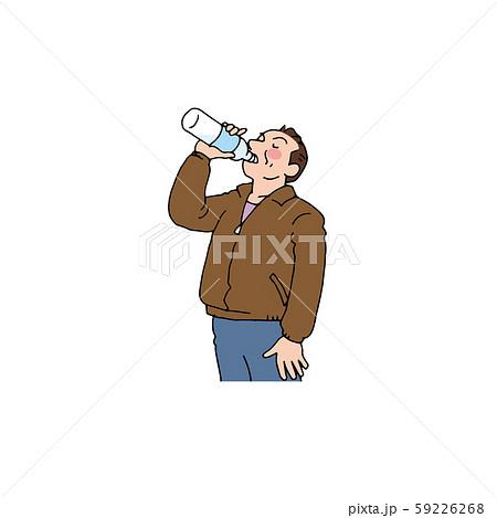 ペットボトルの水を飲む男性 59226268