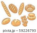 パン素材のセット。バゲットなどのハードパン。挿絵のようなレトロ調 59226793