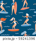 Seamless pattern with Surfer girls on board 59241396