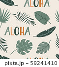 Seamless pattern with tropical plants and text 59241410